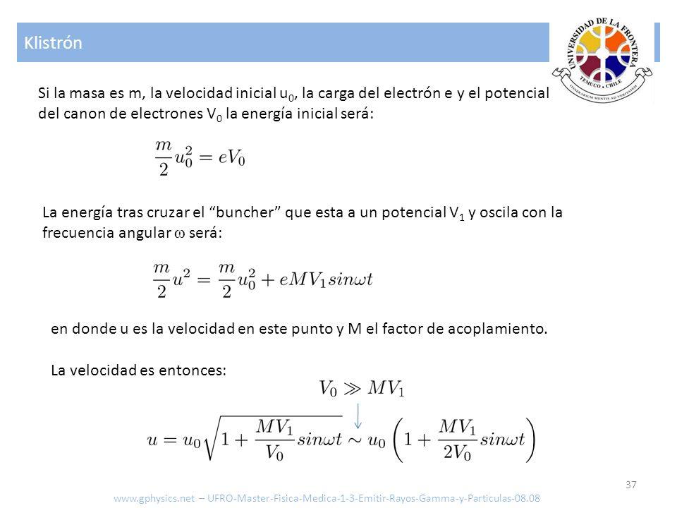 Klistrón Si la masa es m, la velocidad inicial u0, la carga del electrón e y el potencial del canon de electrones V0 la energía inicial será: