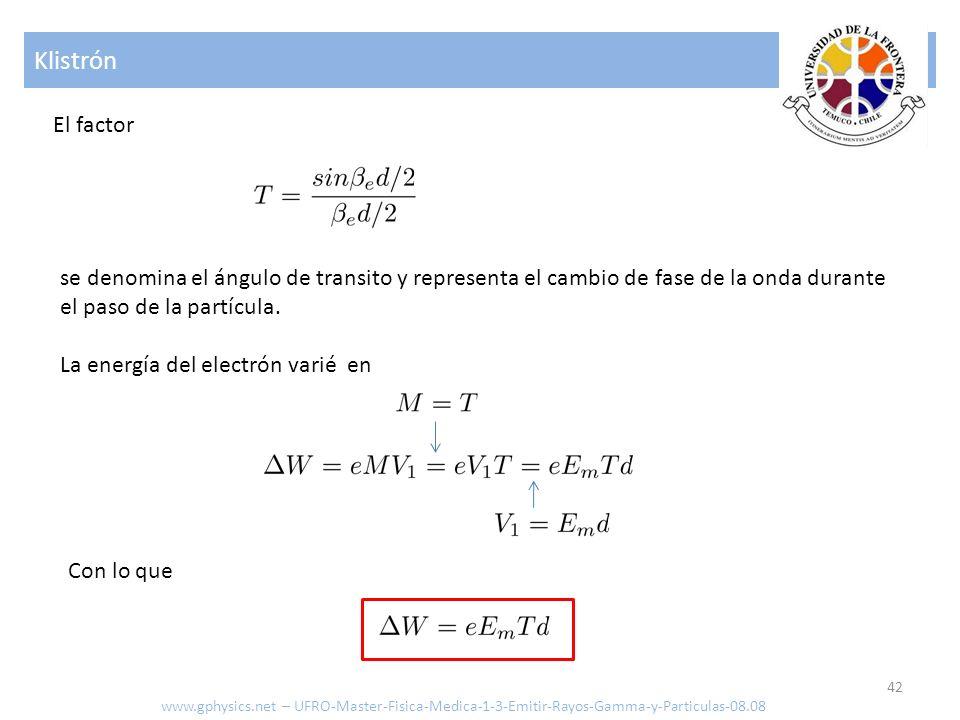 Klistrón El factor. se denomina el ángulo de transito y representa el cambio de fase de la onda durante el paso de la partícula.