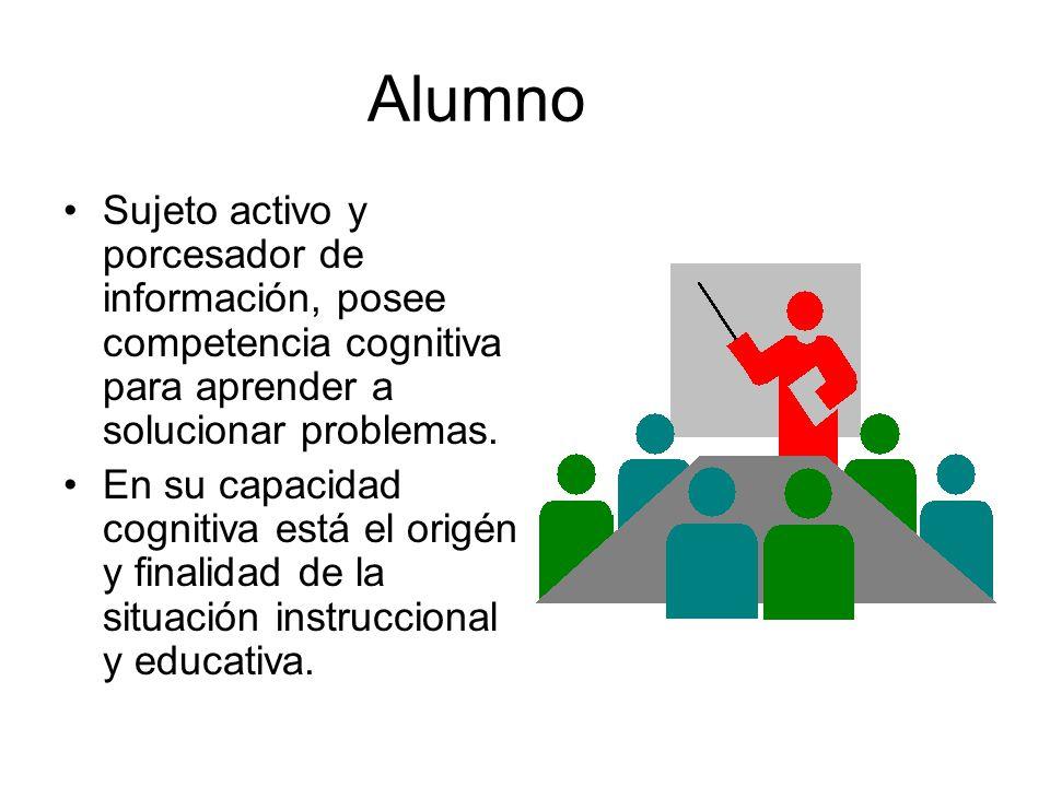 Alumno Sujeto activo y porcesador de información, posee competencia cognitiva para aprender a solucionar problemas.