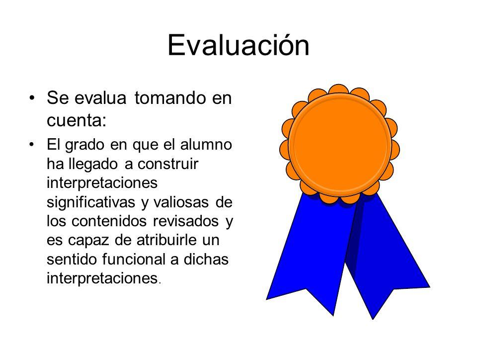Evaluación Se evalua tomando en cuenta: