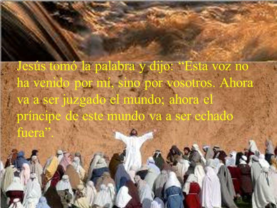 Jesús tomó la palabra y dijo: Esta voz no ha venido por mí, sino por vosotros.