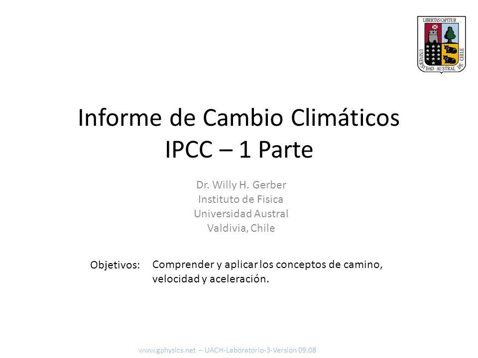 Informe de Cambio Climáticos IPCC – 1 Parte