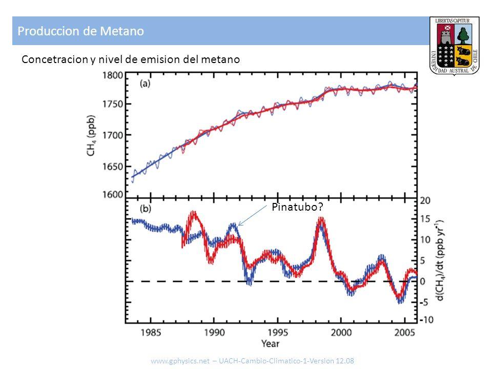 Produccion de Metano Concetracion y nivel de emision del metano