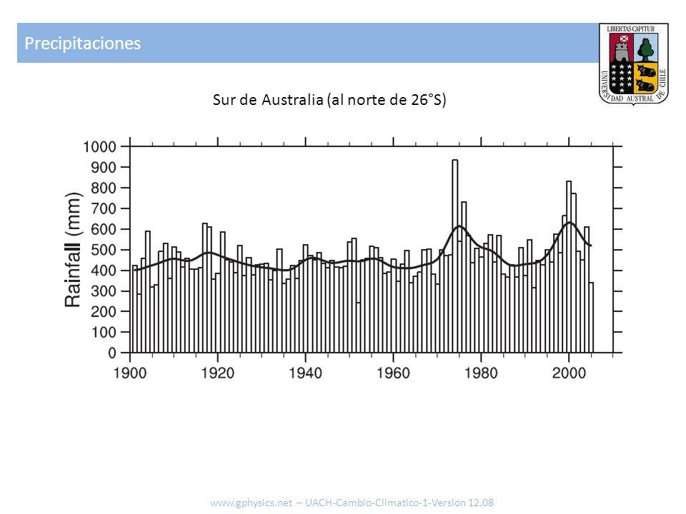 Precipitaciones Sur de Australia (al norte de 26°S)