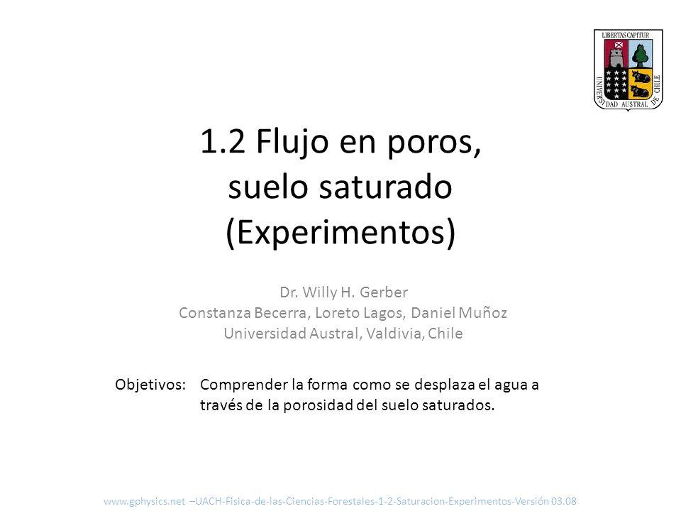 1.2 Flujo en poros, suelo saturado (Experimentos)