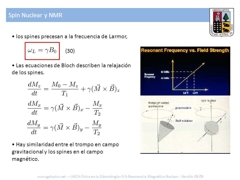 Spin Nuclear y NMR • los spines precesan a la frecuencia de Larmor,