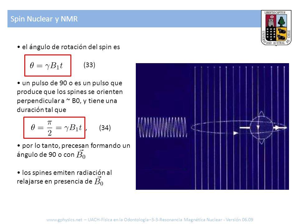 Spin Nuclear y NMR • el ángulo de rotación del spin es (33)