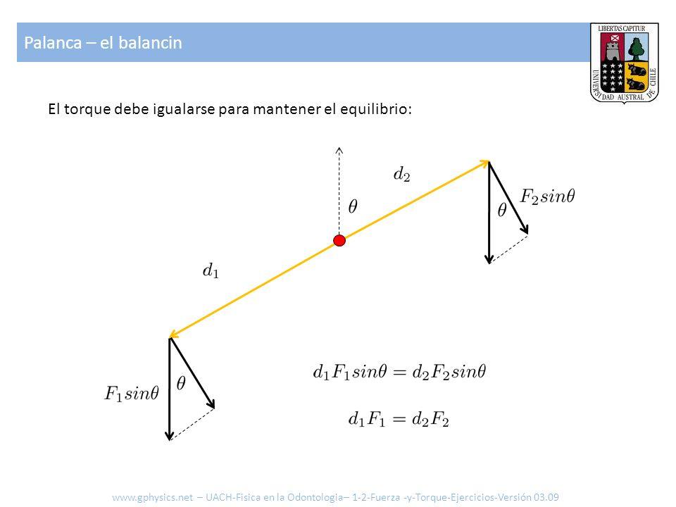 Palanca – el balancin El torque debe igualarse para mantener el equilibrio: