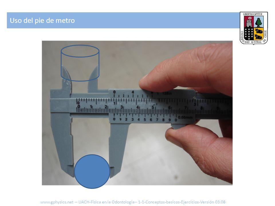 Uso del pie de metro www.gphysics.net – UACH-Fisica en la Odontologia– 1-1-Conceptos-basicos-Ejercicios-Versión 03.08.