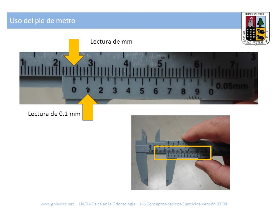 Uso del pie de metro Lectura de mm Lectura de 0.1 mm