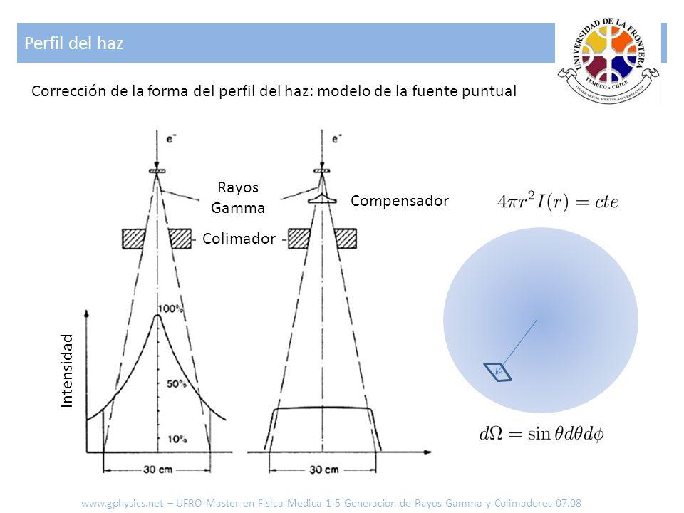 Perfil del haz Corrección de la forma del perfil del haz: modelo de la fuente puntual. Rayos. Gamma.