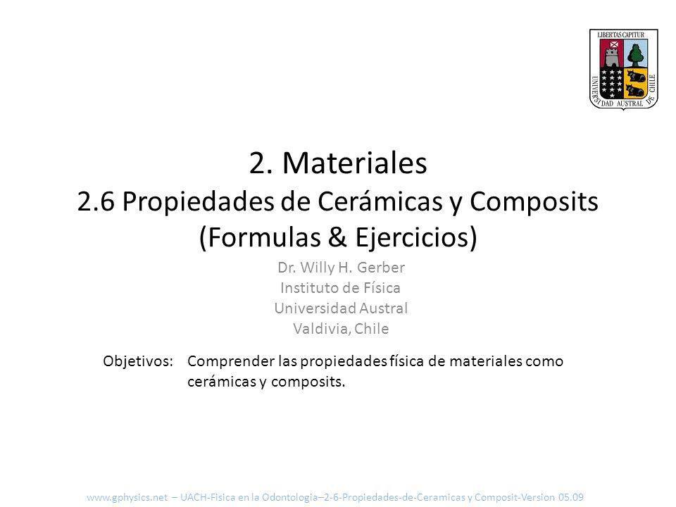 2. Materiales 2.6 Propiedades de Cerámicas y Composits (Formulas & Ejercicios)
