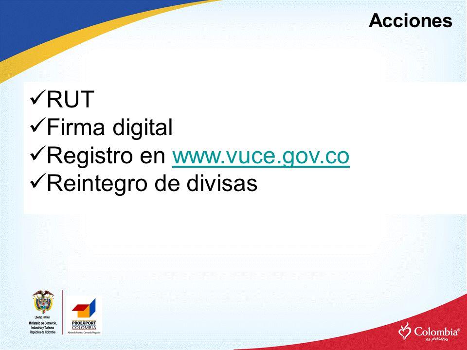 Registro en www.vuce.gov.co Reintegro de divisas