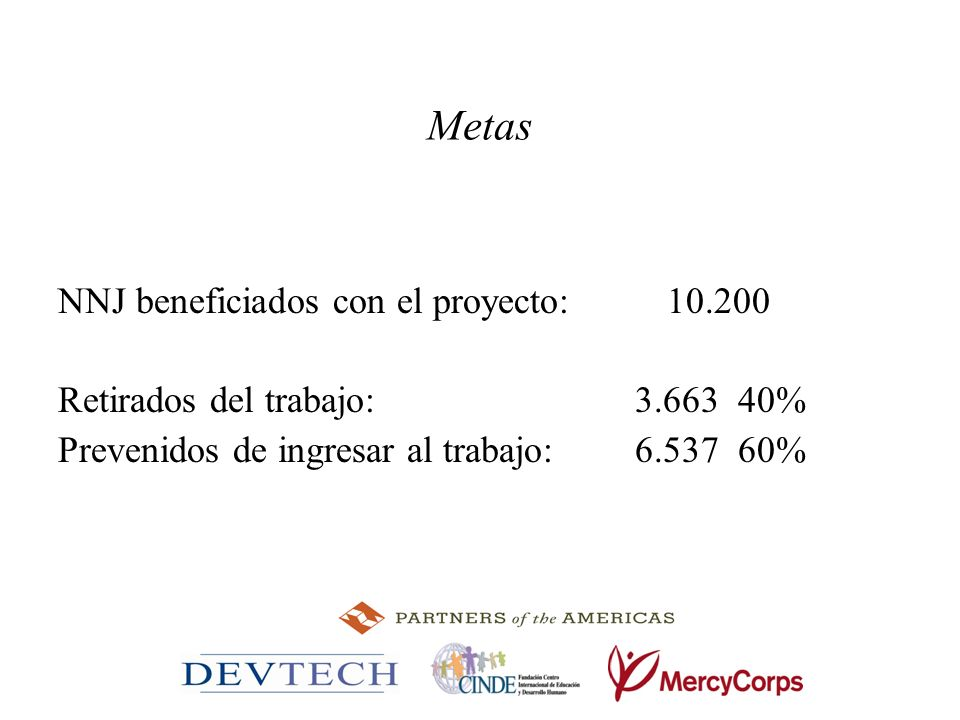 Metas NNJ beneficiados con el proyecto: 10.200