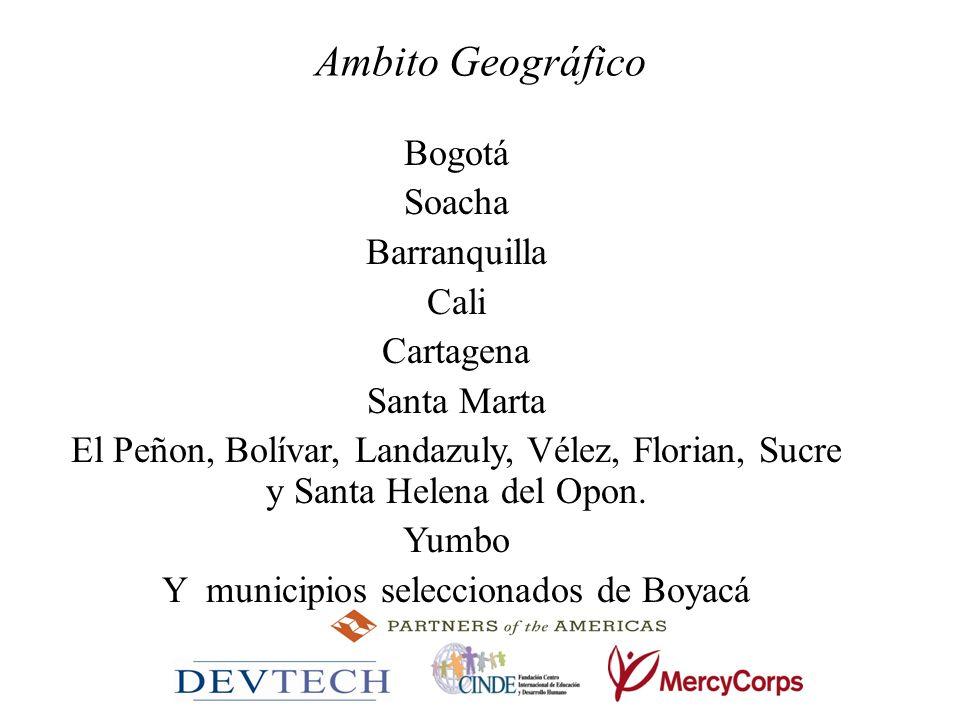 Y municipios seleccionados de Boyacá