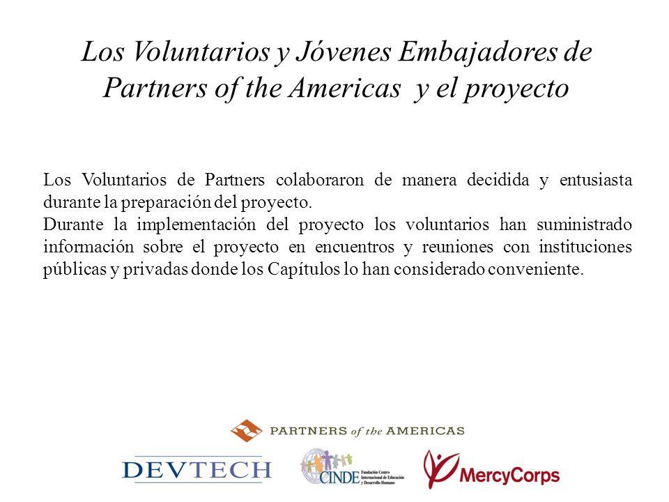 Los Voluntarios y Jóvenes Embajadores de Partners of the Americas y el proyecto