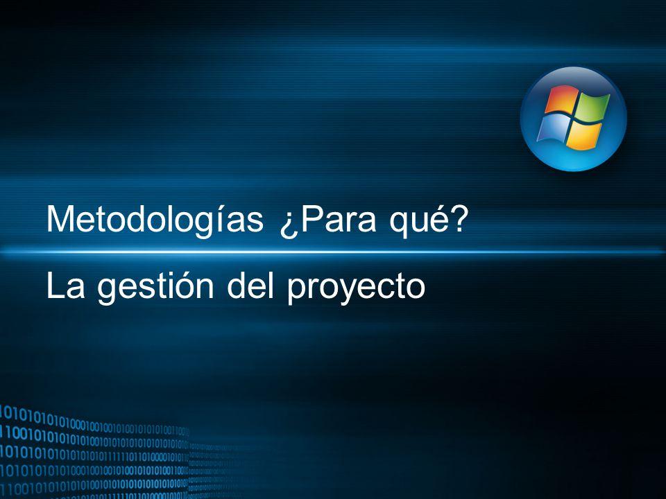 Metodologías ¿Para qué La gestión del proyecto