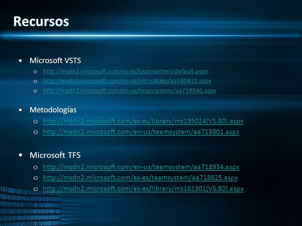 Recursos Microsoft TFS Microsoft VSTS Metodologías