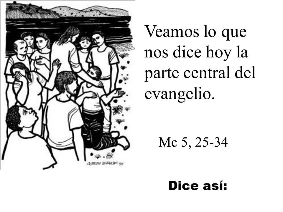 Veamos lo que nos dice hoy la parte central del evangelio.