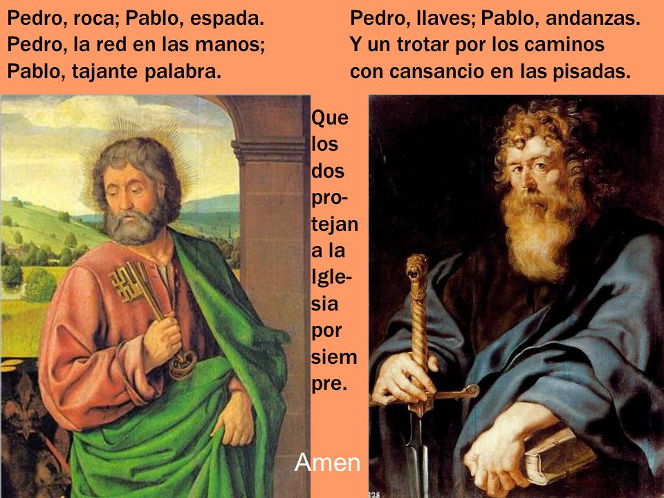 Pedro, roca; Pablo, espada