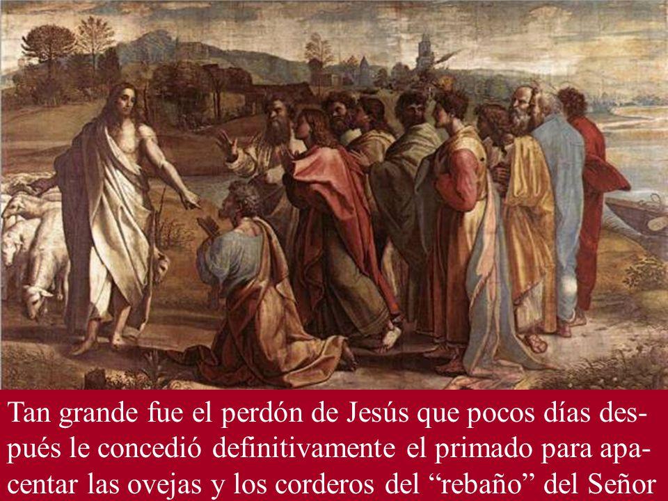 Tan grande fue el perdón de Jesús que pocos días des-pués le concedió definitivamente el primado para apa-centar las ovejas y los corderos del rebaño del Señor