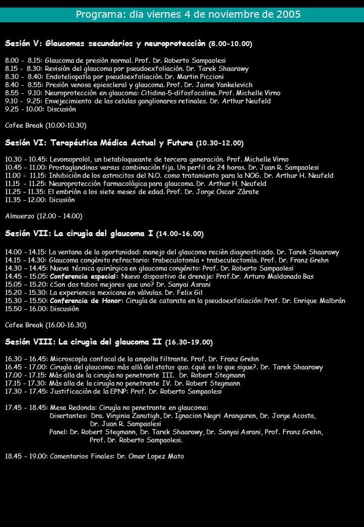 Programa: dia viernes 4 de noviembre de 2005