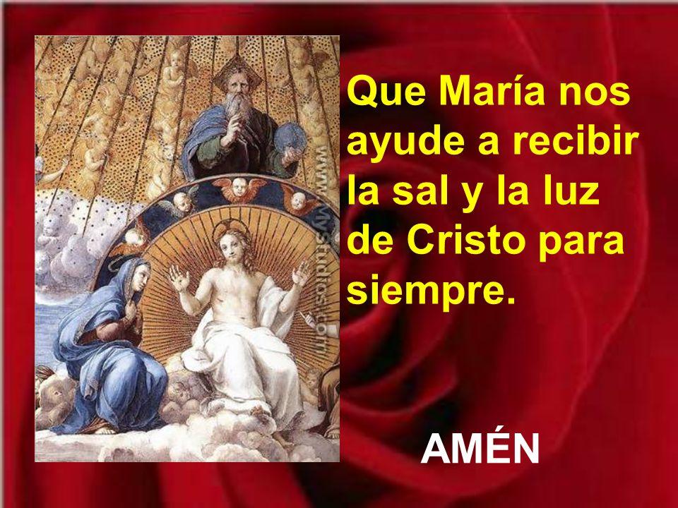 Que María nos ayude a recibir la sal y la luz de Cristo para siempre.