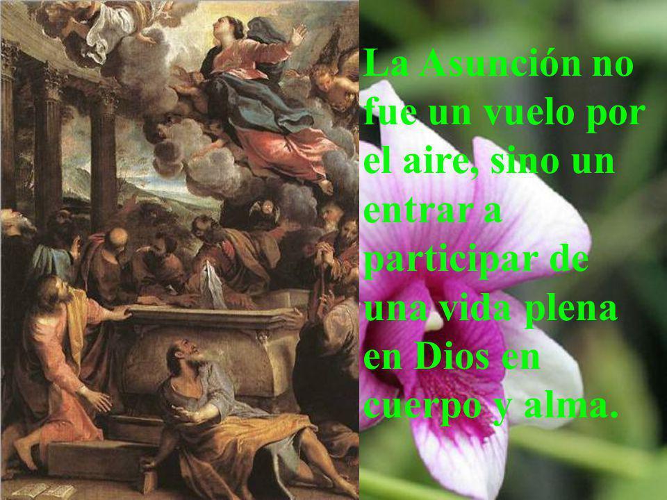 La Asunción no fue un vuelo por el aire, sino un entrar a participar de una vida plena en Dios en cuerpo y alma.