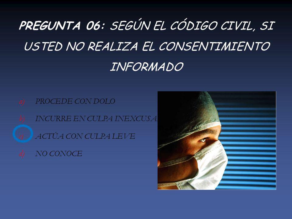 PREGUNTA 06: SEGÚN EL CÓDIGO CIVIL, SI USTED NO REALIZA EL CONSENTIMIENTO INFORMADO