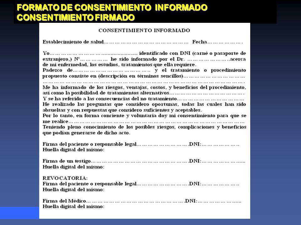 FORMATO DE CONSENTIMIENTO INFORMADO CONSENTIMIENTO FIRMADO