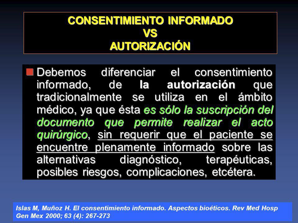 CONSENTIMIENTO INFORMADO VS AUTORIZACIÓN