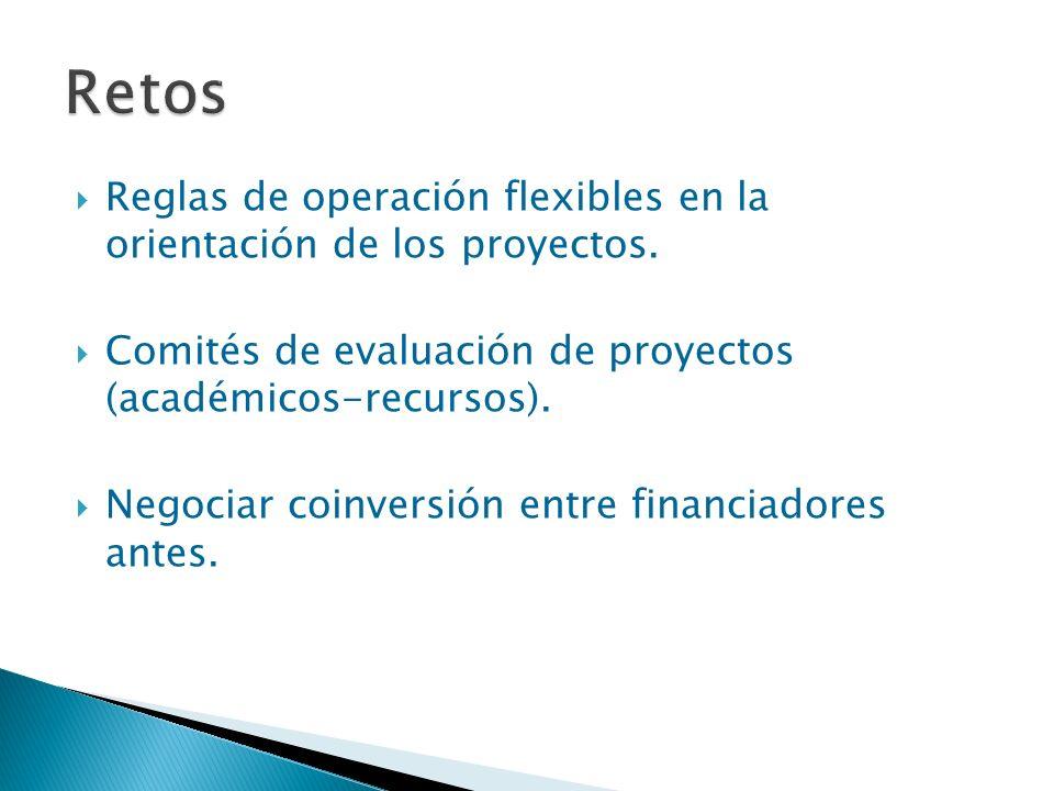 Retos Reglas de operación flexibles en la orientación de los proyectos. Comités de evaluación de proyectos (académicos-recursos).