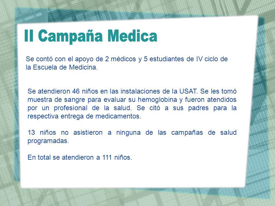II Campaña Medica Se contó con el apoyo de 2 médicos y 5 estudiantes de IV ciclo de la Escuela de Medicina.