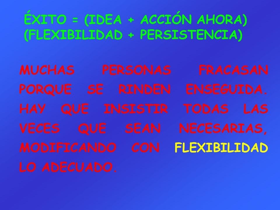 ÉXITO = (IDEA + ACCIÓN AHORA) (FLEXIBILIDAD + PERSISTENCIA)