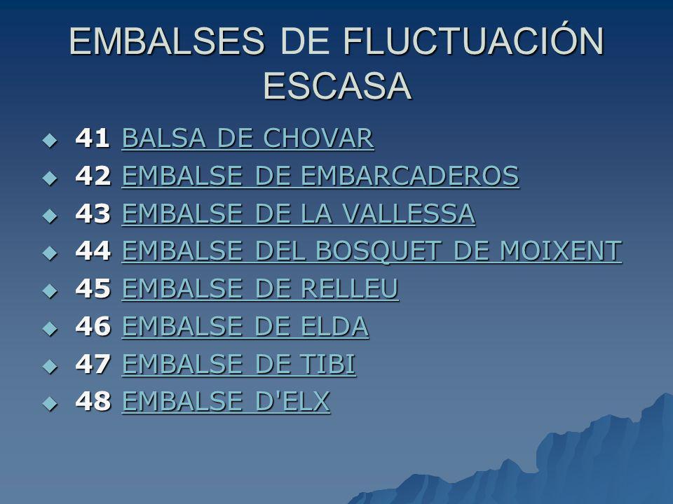 EMBALSES DE FLUCTUACIÓN ESCASA
