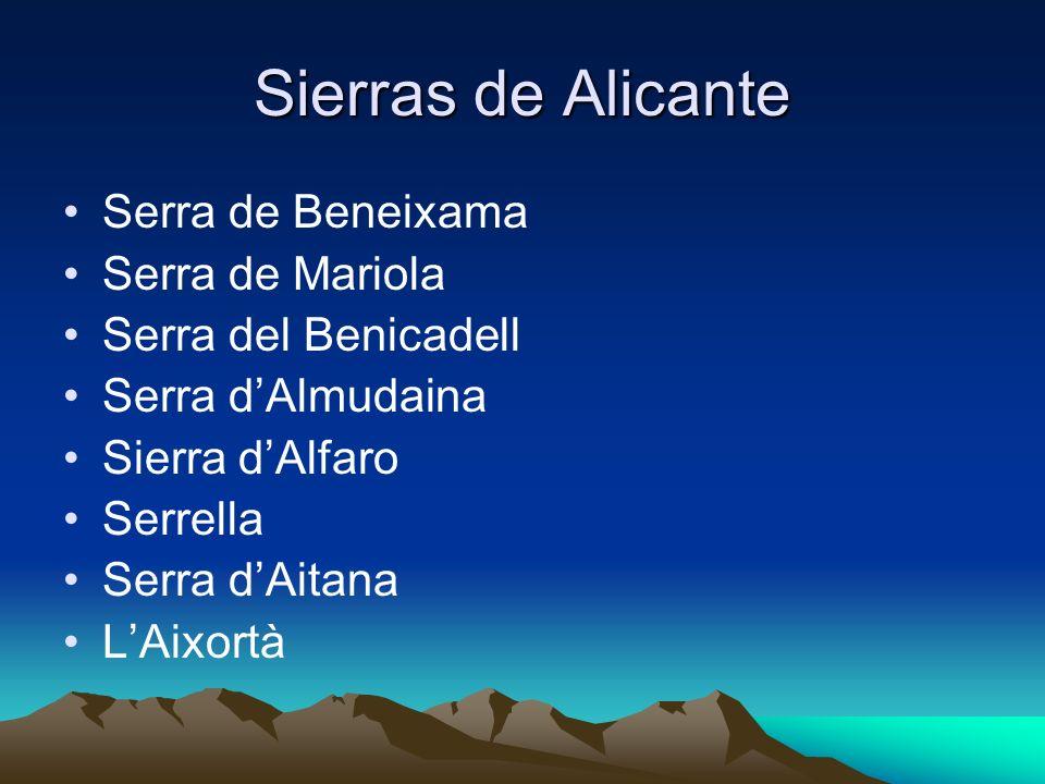Sierras de Alicante Serra de Beneixama Serra de Mariola