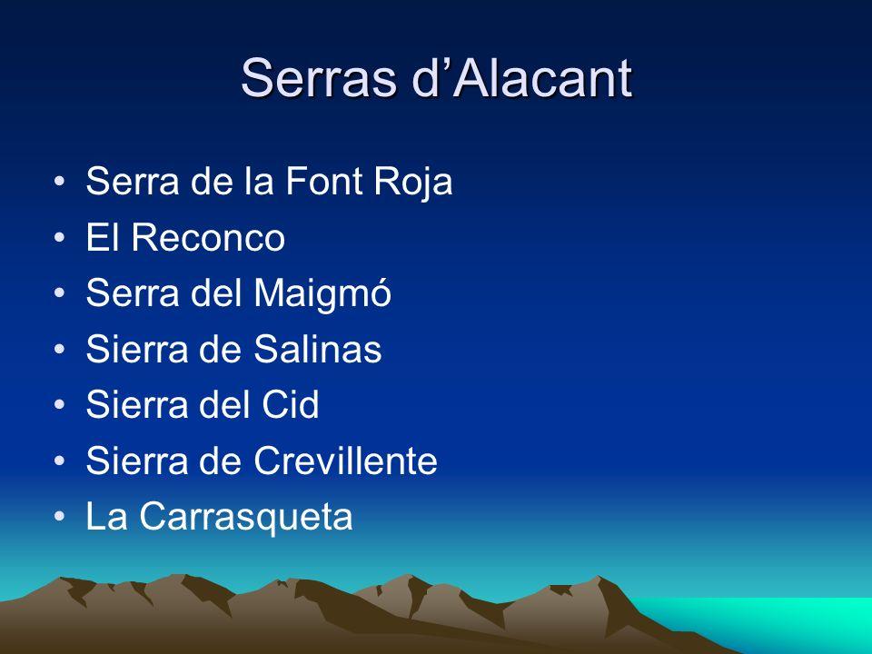 Serras d'Alacant Serra de la Font Roja El Reconco Serra del Maigmó