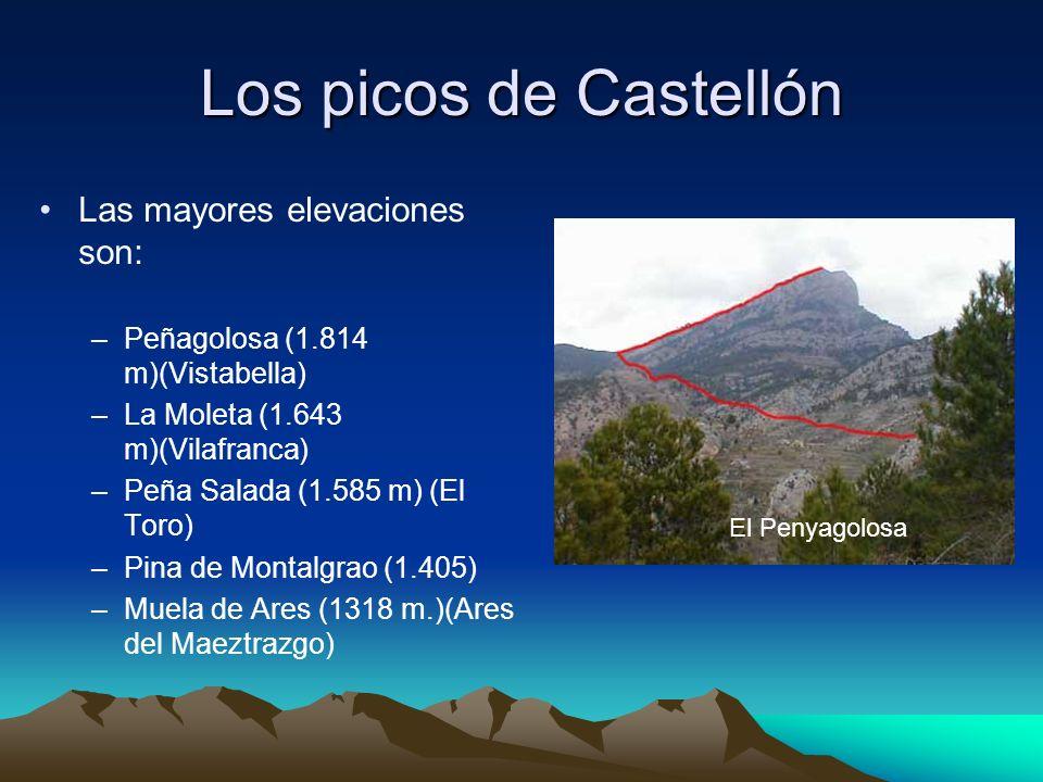 Los picos de Castellón Las mayores elevaciones son: