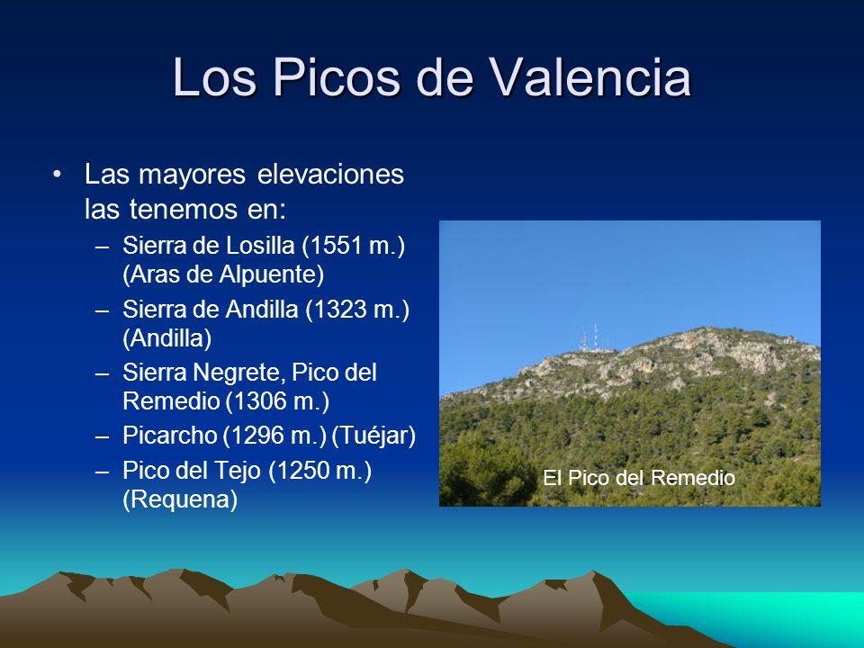 Los Picos de Valencia Las mayores elevaciones las tenemos en: