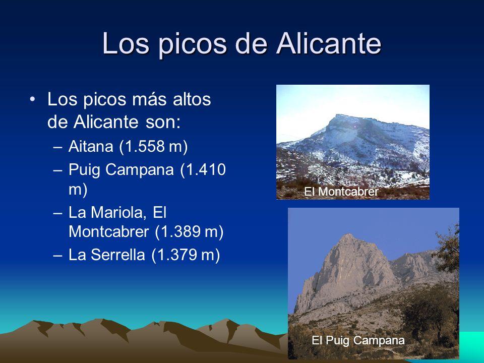 Los picos de Alicante Los picos más altos de Alicante son: