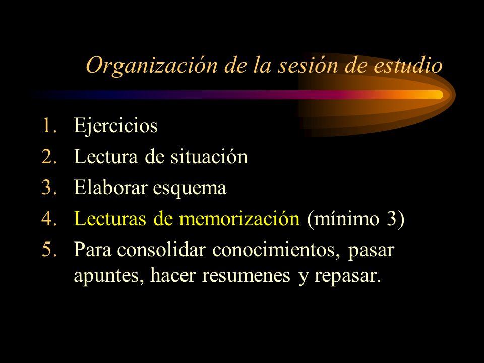 Organización de la sesión de estudio