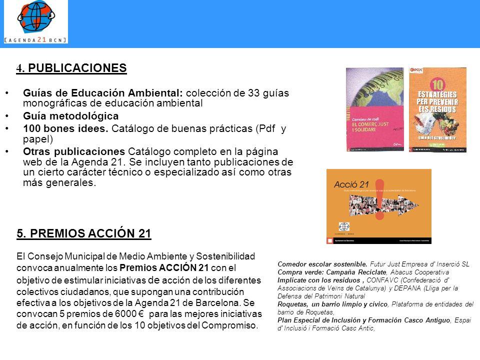4. PUBLICACIONES 5. PREMIOS ACCIÓN 21
