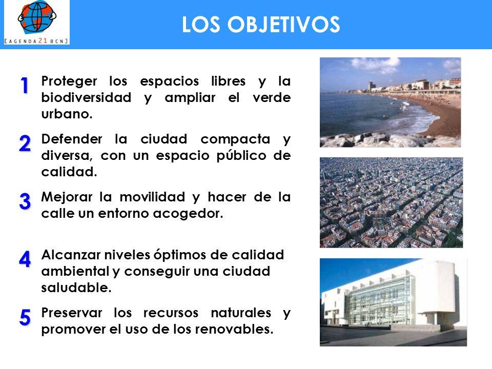 LOS OBJETIVOS1. Proteger los espacios libres y la biodiversidad y ampliar el verde urbano. 2.