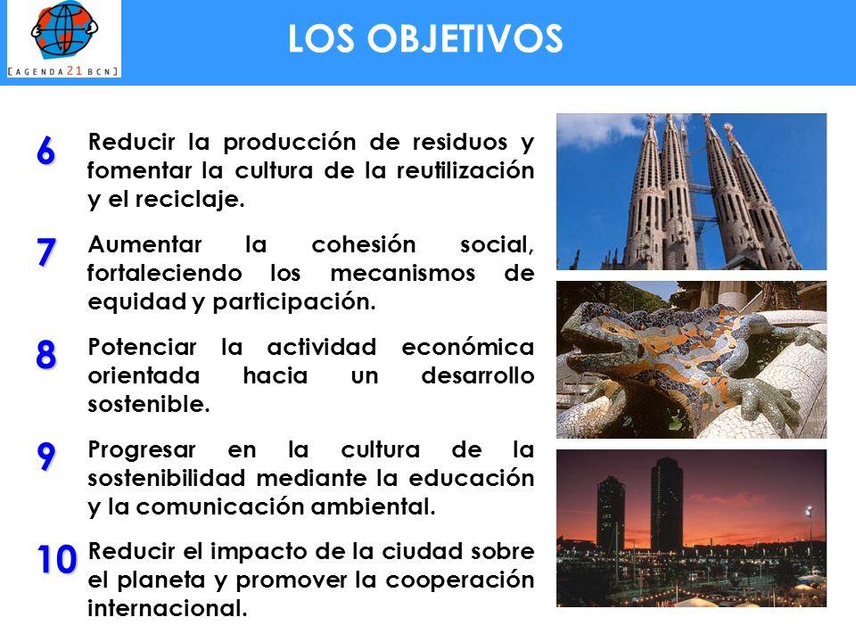 LOS OBJETIVOS6. Reducir la producción de residuos y fomentar la cultura de la reutilización y el reciclaje.
