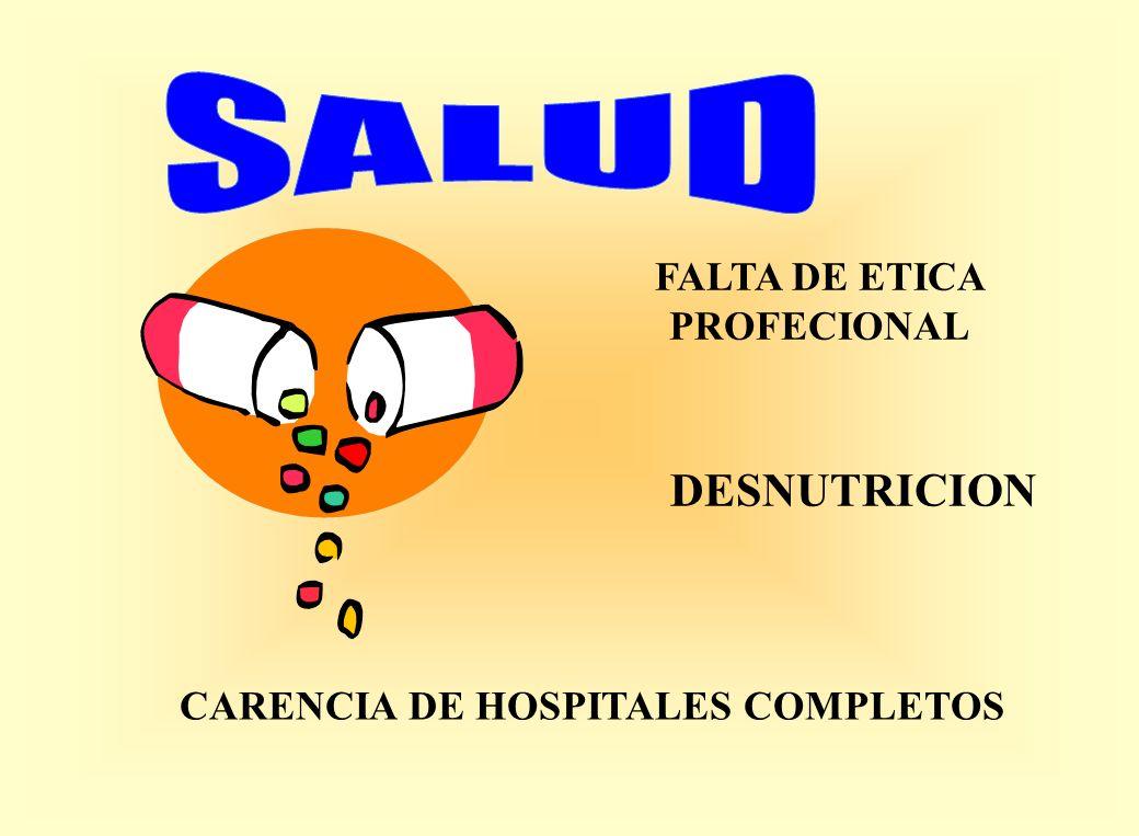 FALTA DE ETICA PROFECIONAL CARENCIA DE HOSPITALES COMPLETOS