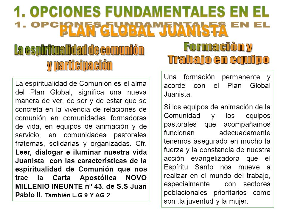 1. OPCIONES FUNDAMENTALES EN EL PLAN GLOBAL JUANISTA
