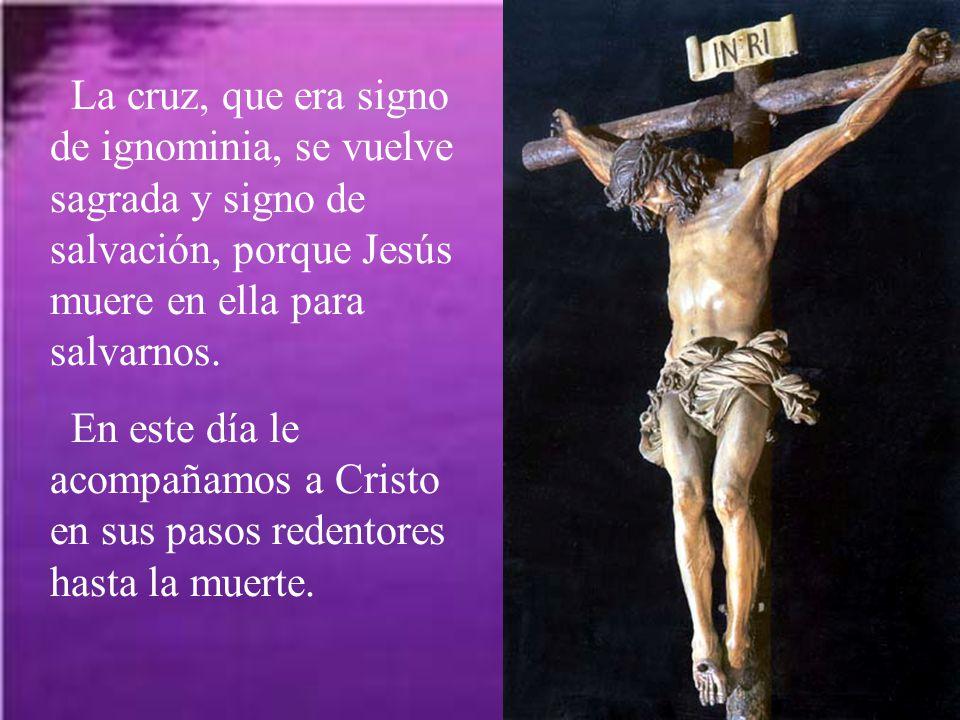 La cruz, que era signo de ignominia, se vuelve sagrada y signo de salvación, porque Jesús muere en ella para salvarnos.