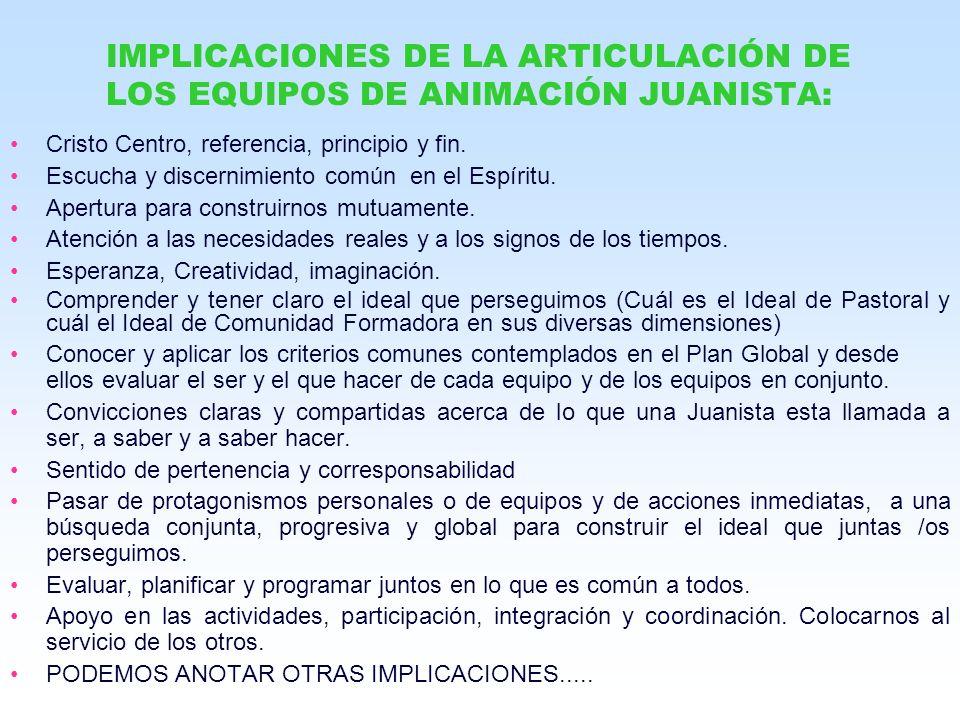 IMPLICACIONES DE LA ARTICULACIÓN DE LOS EQUIPOS DE ANIMACIÓN JUANISTA: