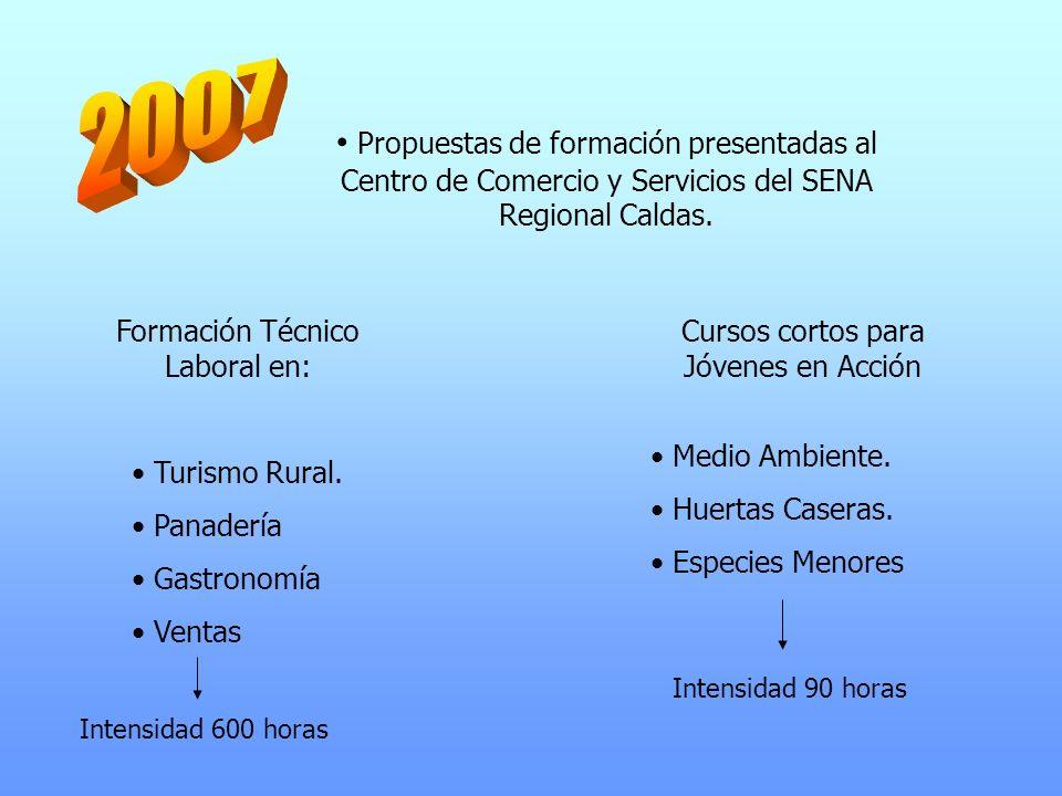 2007 Propuestas de formación presentadas al Centro de Comercio y Servicios del SENA Regional Caldas.