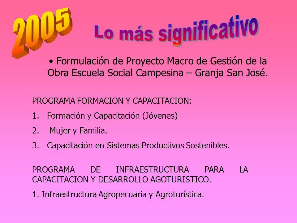 2005 Lo más significativo. Formulación de Proyecto Macro de Gestión de la Obra Escuela Social Campesina – Granja San José.